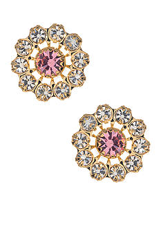 Betsey Johnson Pink Crystal Stud Earrings