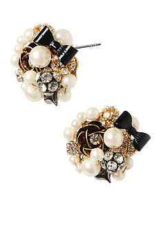 Betsey Johnson Pearl Cluster Bead Stud Earrings