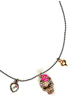 Betsey Johnson Crystal Skull Necklace