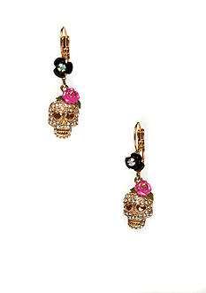 Betsey Johnson Crystal Skull Earrings