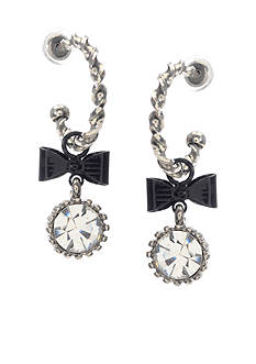 Betsey Johnson Bow & Crystal Drop Earrings