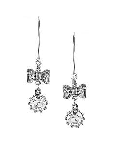Betsey Johnson Crystal & Bow Drop Earrings