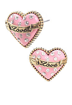 Betsey Johnson 'Love' Heart Stud Earrings