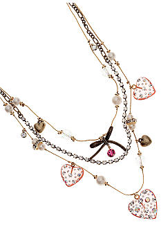 Betsey Johnson Lucite Heart Illusion Necklace