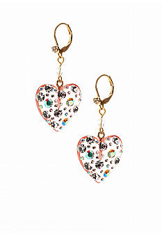 Betsey Johnson Lucite Heart Drop Earring