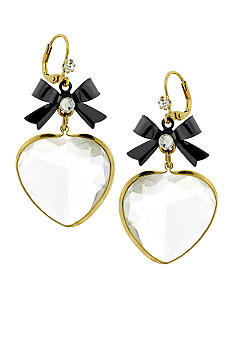 Betsey Johnson Faceted Heart Drop Earring