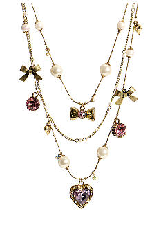 Betsey Johnson Pink Crystal Heart Illusion Necklace