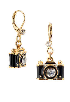 Betsey Johnson Camera Drop Earrings
