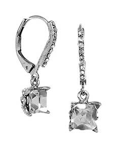 Betsey Johnson Square Crystal Drop Earrings