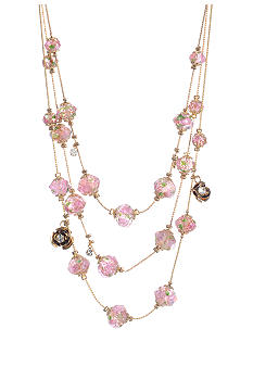 Betsey Johnson Flower Bead Illusion Necklace