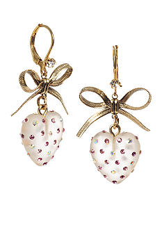 Betsey Johnson Pink Crystal Lucite Heart Drop Earring