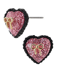 Betsey Johnson Glitter Heart Stud Earring