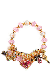 Betsey Johnson Pave Heart Multi Charm Half Stretch Bracelet