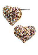 Betsey Johnson Pave Crystal Heart Stud Earrings