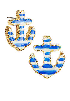 Betsey Johnson Striped Anchor Stud Earrings