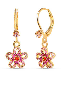Betsey Johnson Crystal Flower Drop Earring