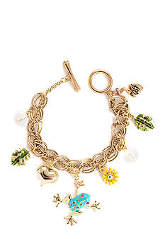 Betsey Johnson Blue Frog Multi Charm Toggle Bracelet