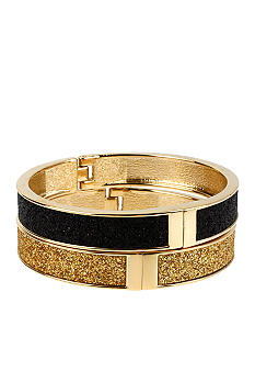 Betsey Johnson Black & Gold Glitter Hinged Bangle Bracelet Set