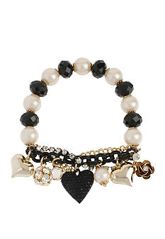Betsey Johnson Black Heart Half Stretch Bracelet