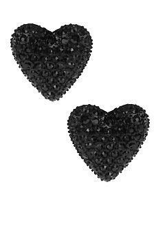 Betsey Johnson Black Heart Stud Earrings