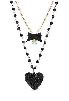 Betsey Johnson Heart & Bow Three Row Necklace