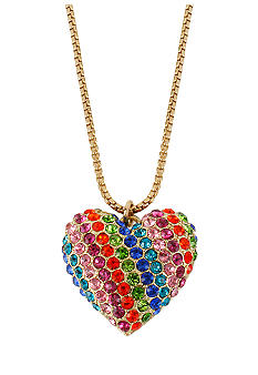 Betsey Johnson Rainbow Heart Pendant Necklace