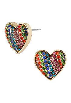 Betsey Johnson Rainbow Heart Stud Earrings