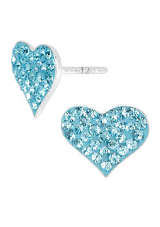 Betsey Johnson Blue Pave Heart Stud Earrings