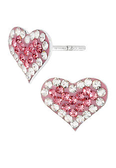 Betsey Johnson Pink Pave Heart Stud Earrings