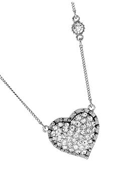 Betsey Johnson Pave Heart Pendant Necklace