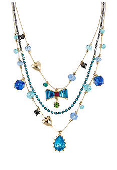 Betsey Johnson Crystal Gem & Bow Illusion Necklace