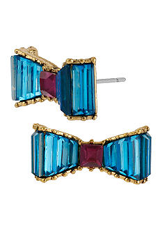 Betsey Johnson Crystal Bow Stud Earrings