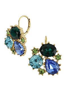 Betsey Johnson Crystal Gem Cluster Drop Earrings