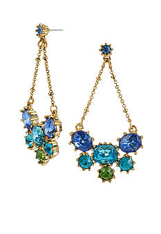 Betsey Johnson Crystal Gem Cluster Chandelier Earrings