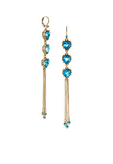 Betsey Johnson Crystal Heart Multi Chain Linear Earrings