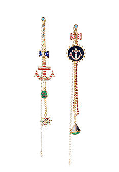 Betsey Johnson Anchor Front & Back Multi Chain Linear Earrings