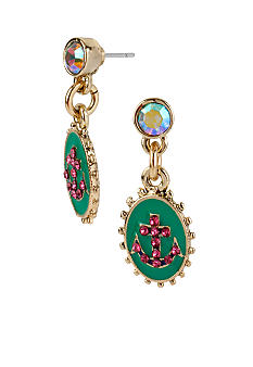Betsey Johnson Oval Anchor Drop Earrings