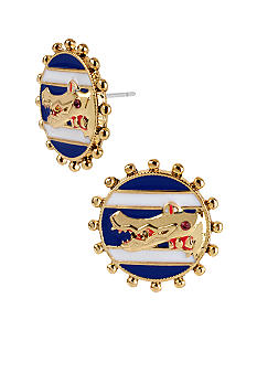 Betsey Johnson Round Alligator Stud Earrings