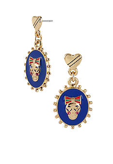 Betsey Johnson Oval Skull Drop Earrings