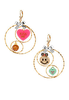 Betsey Johnson Smiley Face & 'KISS ME' Heart Multi Charm Gypsy Hoop Earrings