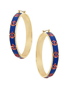 Betsey Johnson Anchor Hoop Earrings