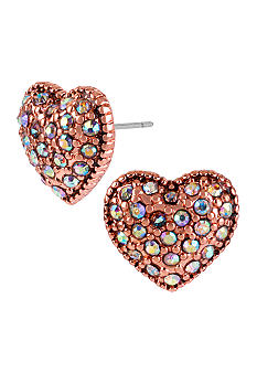 Betsey Johnson Crystal Heart Stud Earrings