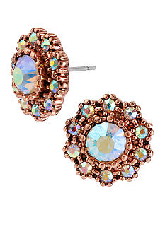 Betsey Johnson Round Crystal Gem Stud Earrings
