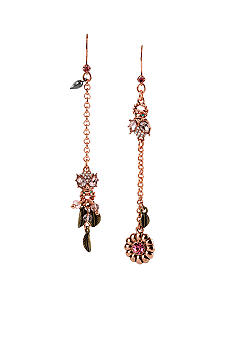 Betsey Johnson Crystal Bug Mismatch Linear Earrings