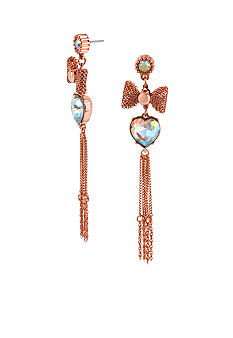 Betsey Johnson Crystal Heart & Mesh Bow Linear Earrings