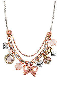 Betsey Johnson Bow Multi Charm Frontal Necklace