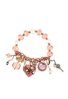 Betsey Johnson Vintage Heart Multi Charm Half Stretch Bracelet