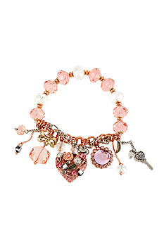 Betsey Johnson Vintage Heart Multi Charm Half-Stretch Bracelet