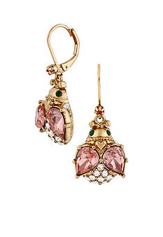 Betsey Johnson Crystal Bug Drop Earrings