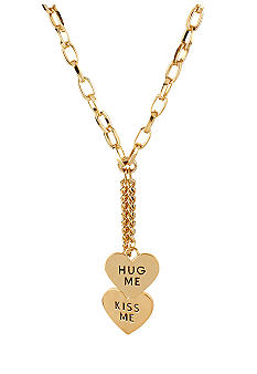 Betsey Johnson 'HUG ME' & 'KISS ME' Hearts Y-Shaped Necklace